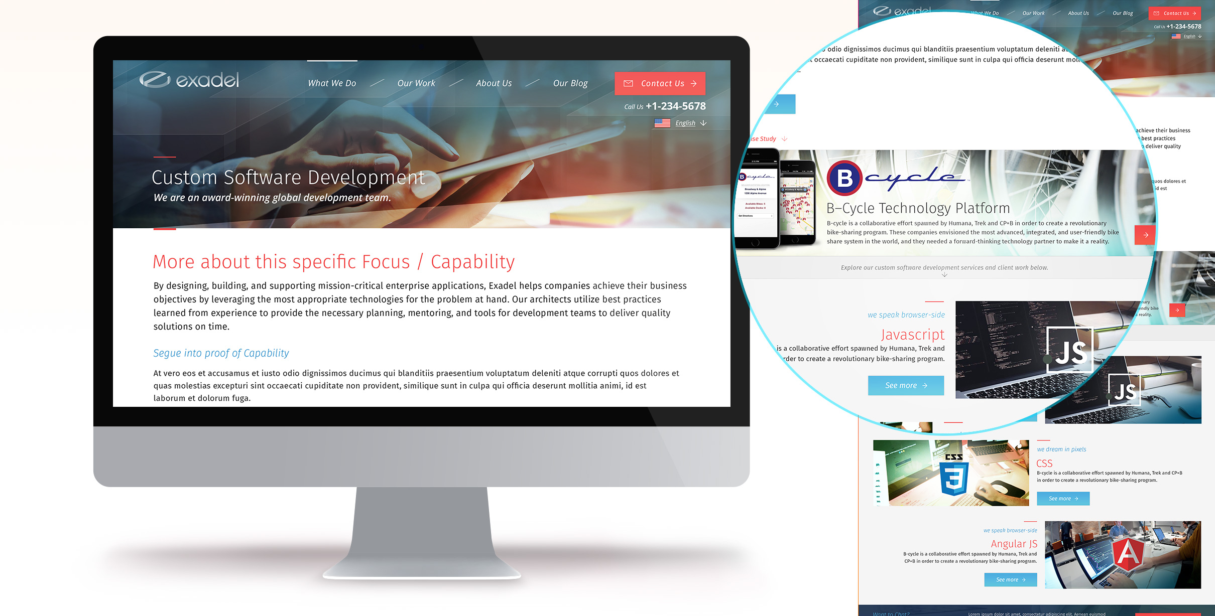 My work on the Website Redesign of Exadel